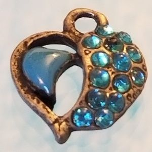 NWT Antiqued GLP Mini Heart Charm Blue Glass Cryst